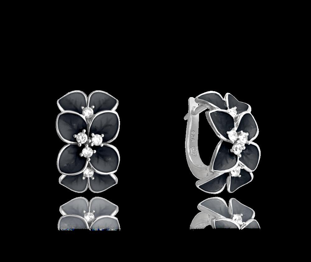 Černé rozkvetlé stříbrné náušnice MINET FLOWERS se zirkony