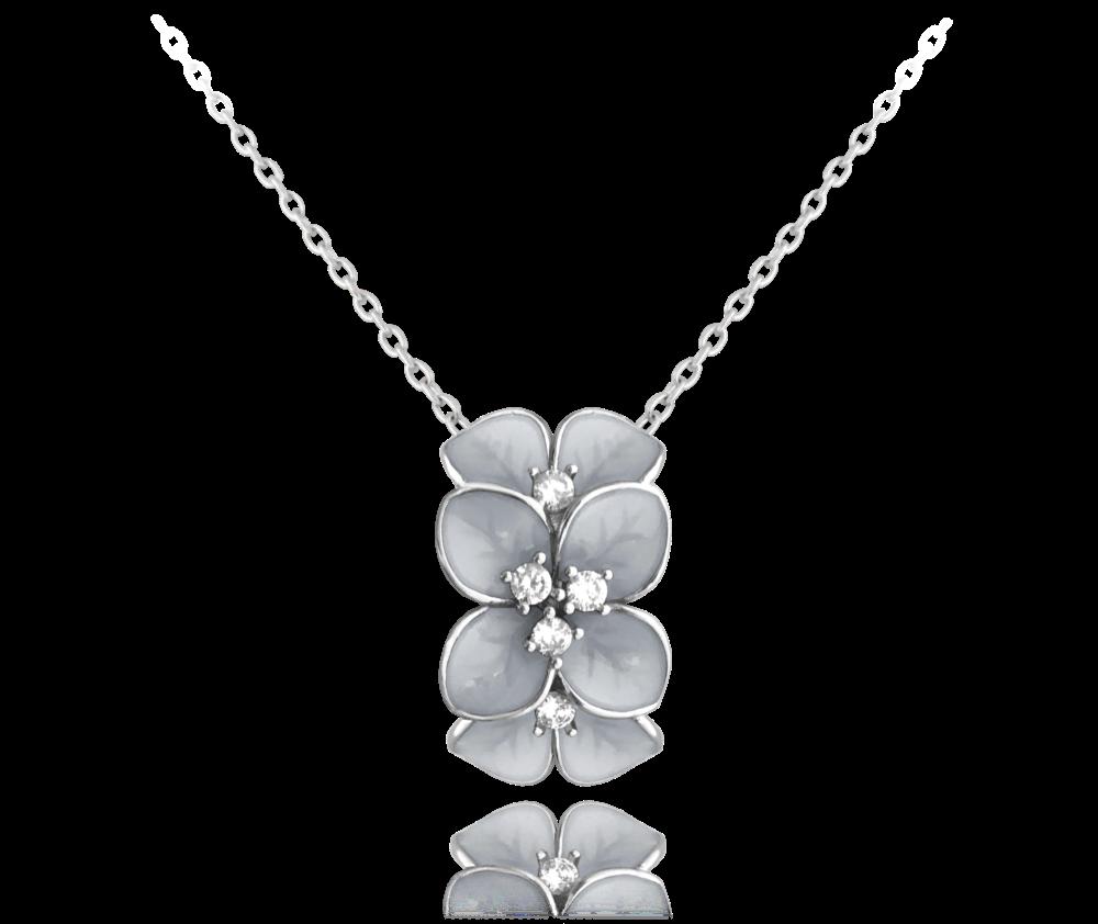 MINET Rozkvetlý stříbrný náhrdelník MINET FLOWERS se zirkony JMAS5034WN45