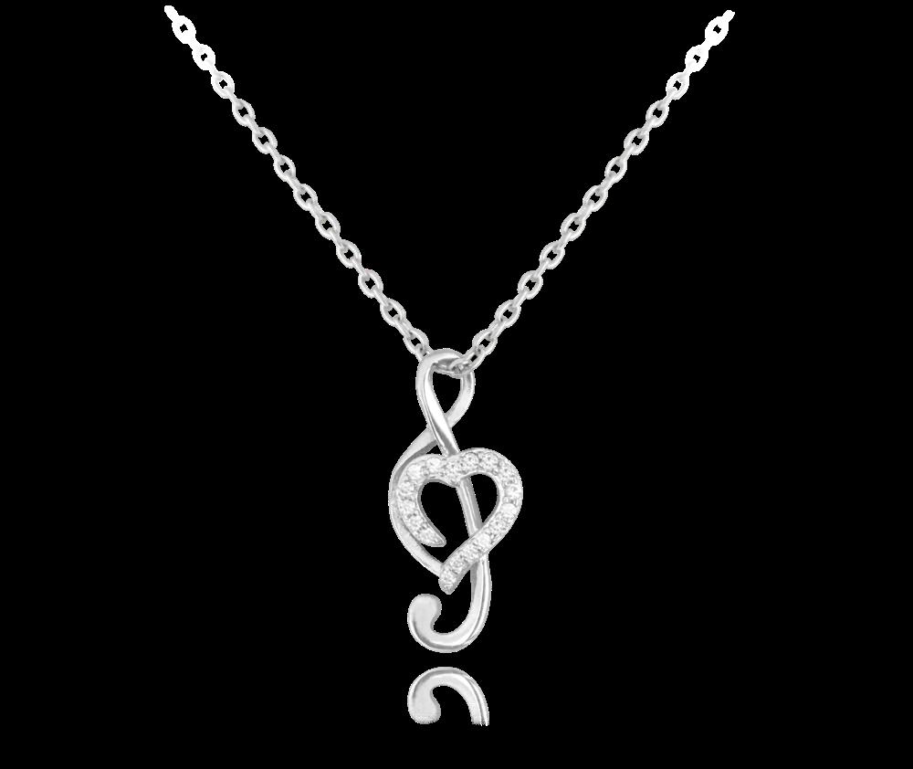 Stříbrný náhrdelník MINET HOUSLOVÝ KLÍČ s bílými zirkony
