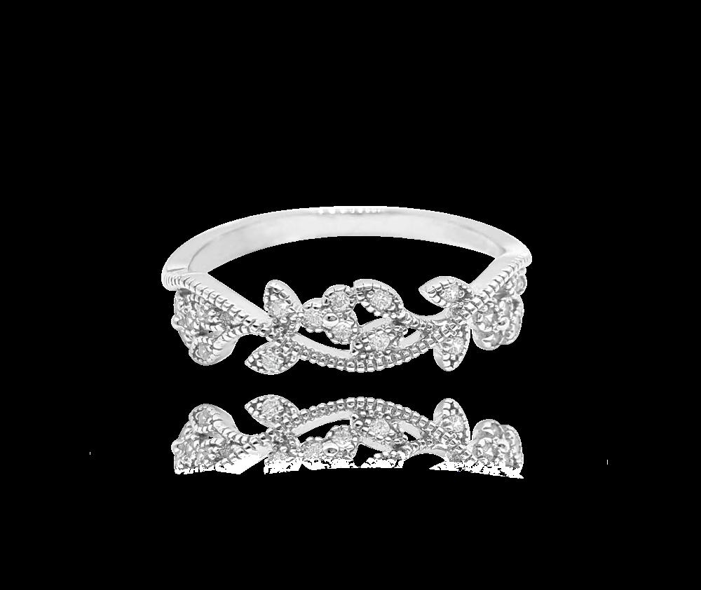 Rozkvetlý stříbrný prsten MINET FLOWERS s bílými zirkony vel. 54