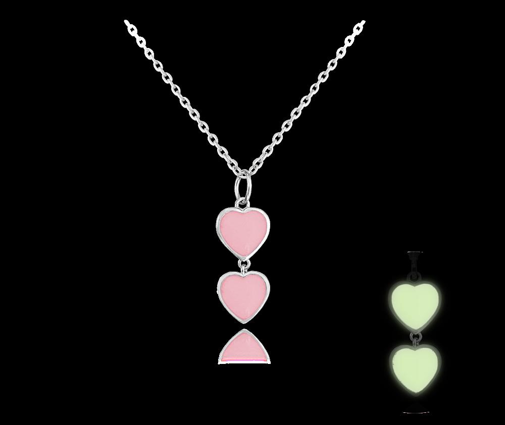 MINET Svítící růžový stříbrný náhrdelník se srdíčky MINET LOVE JMAS0082PN45