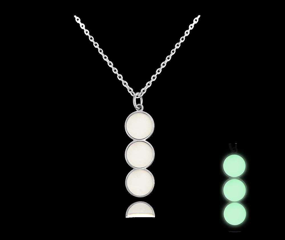 Svítící bílý stříbrný náhrdelník MINET