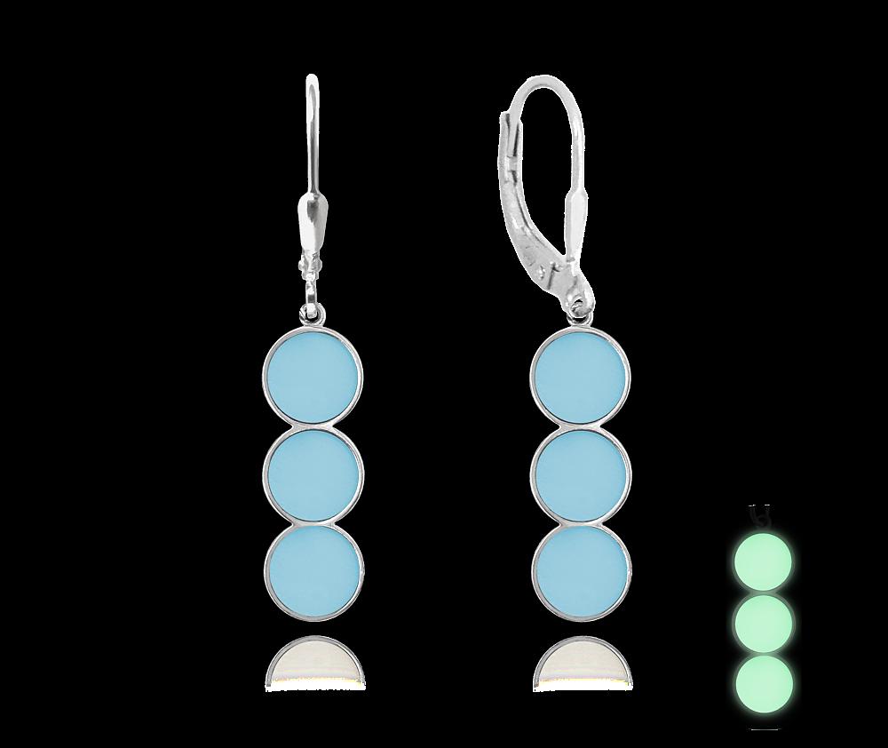 MINET Svítící modré stříbrné náušnice MINET JMAS0078BE00