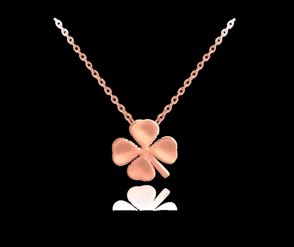 Rose gold stříbrný náhrdelník MINET ČTYŘLÍSTEK