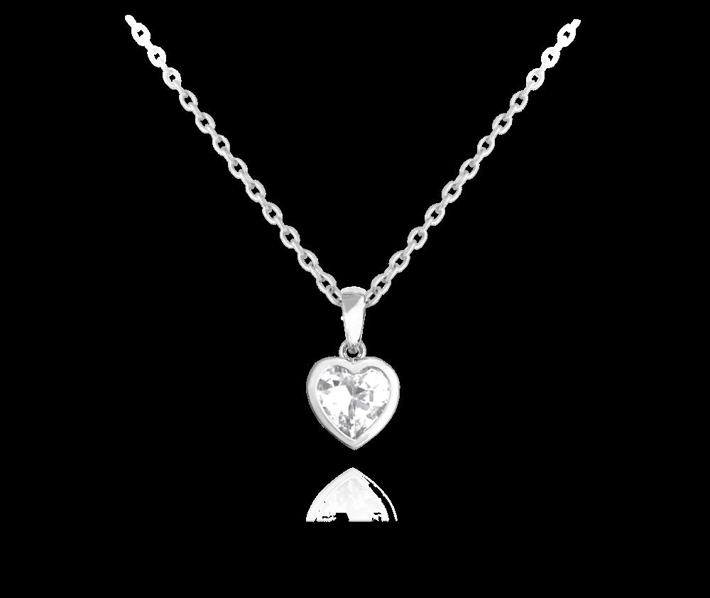 Stříbrný náhrdelník MINET SRDÍČKA s bílým zirkonem
