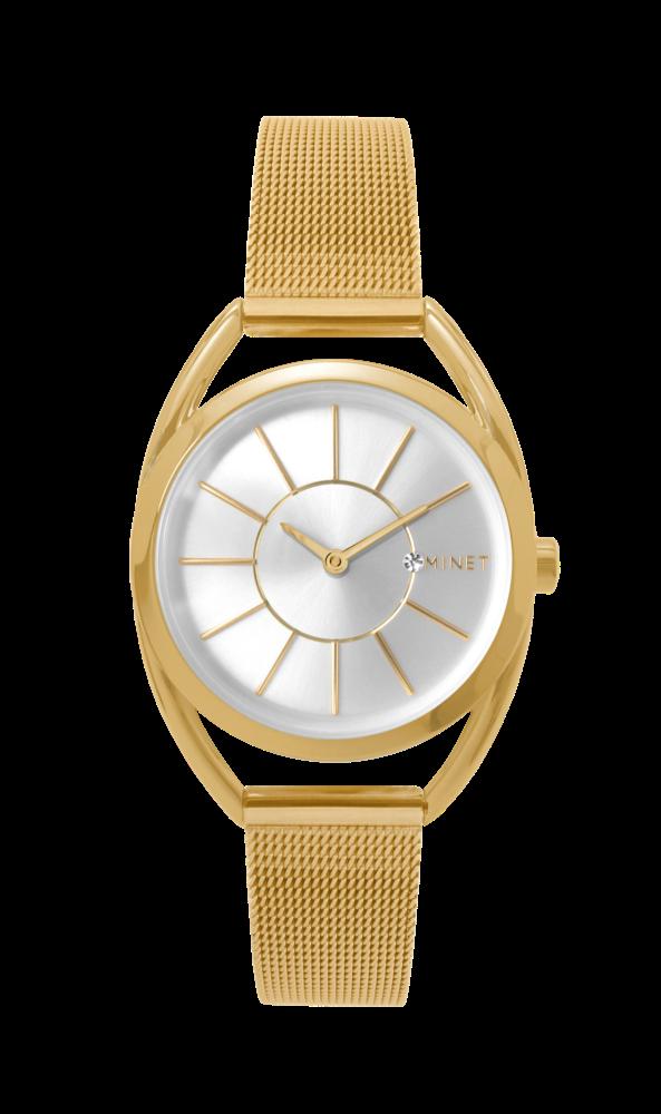 Zlaté dámské hodinky MINET ICON LIGHT GOLD MESH