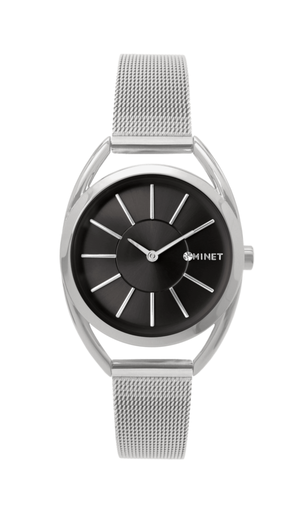 Stříbrno-černé dámské hodinky MINET ICON SILVER BLACK MESH