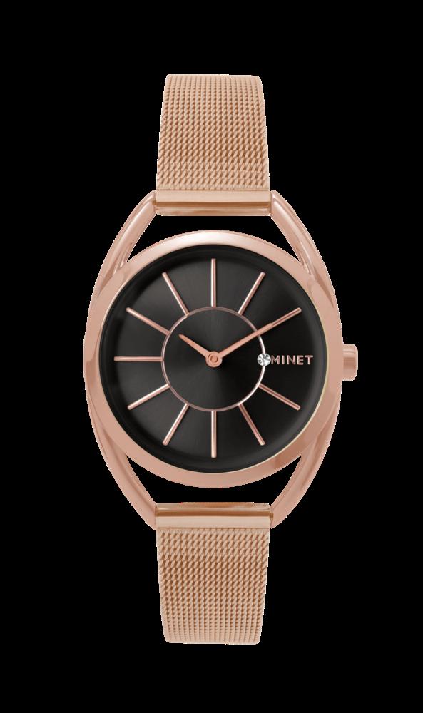 Růžovo-černé dámské hodinky MINET ICON ROSE GOLD BLACK MESH