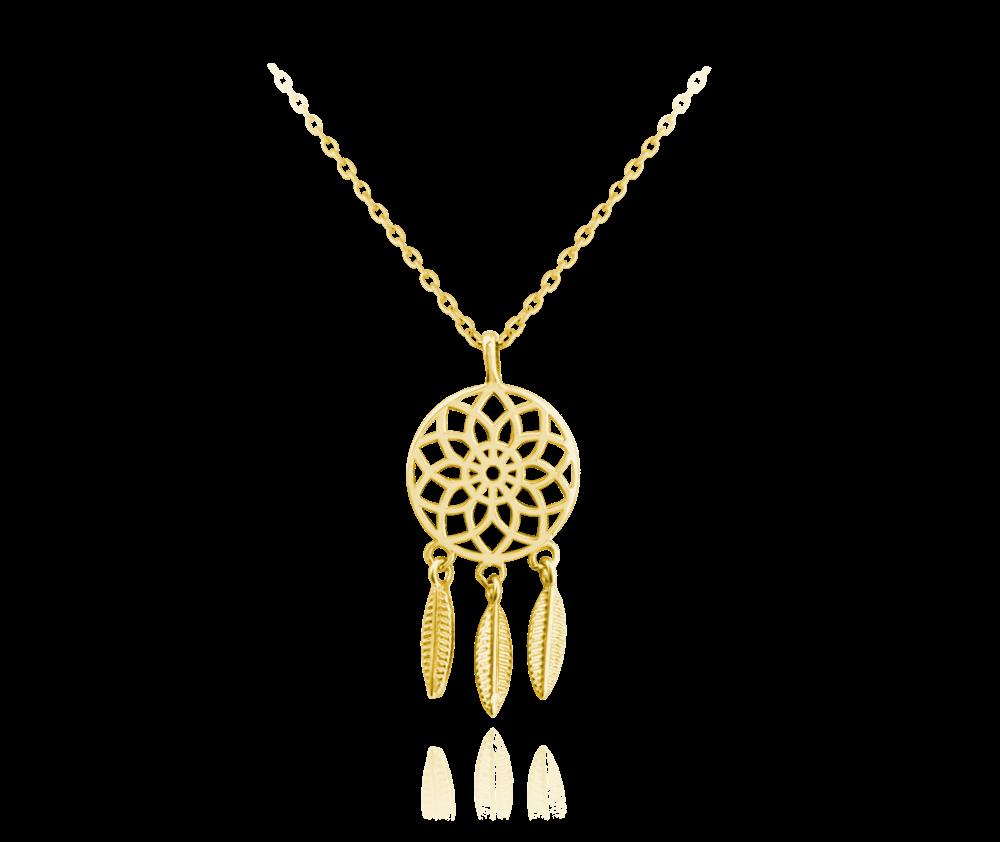 MINET Pozlacený stříbrný náhrdelník MINET LAPAČ SNŮ JMAS5030GN45
