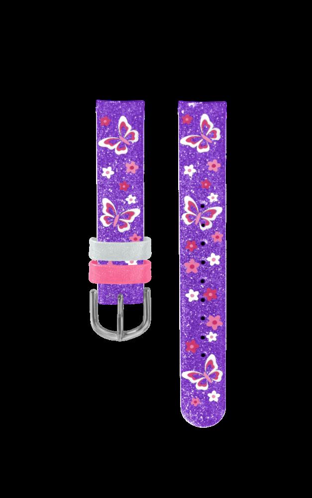 Fialový řemínek s motýly k dětským hodinkám CLOCKODILE