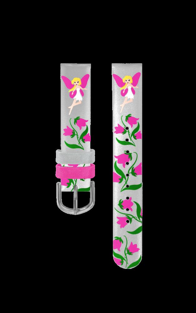 Stříbrný řemínek s růžovými vílami k dětským hodinkám CLOCKODILE