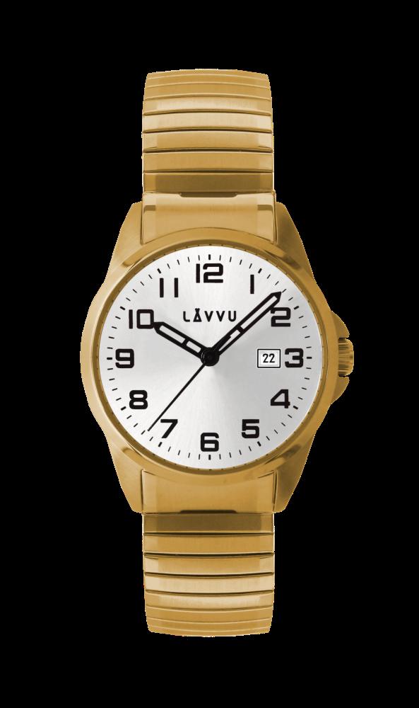 Pánské pružné hodinky LAVVU STOCKHOLM Big Gold