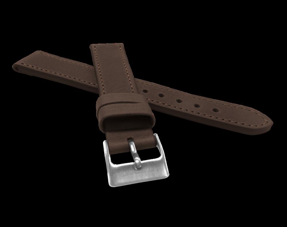 Tmavě hnědý prošitý řemínek LAVVU SPORT z luxusní kůže Top Grain - 16