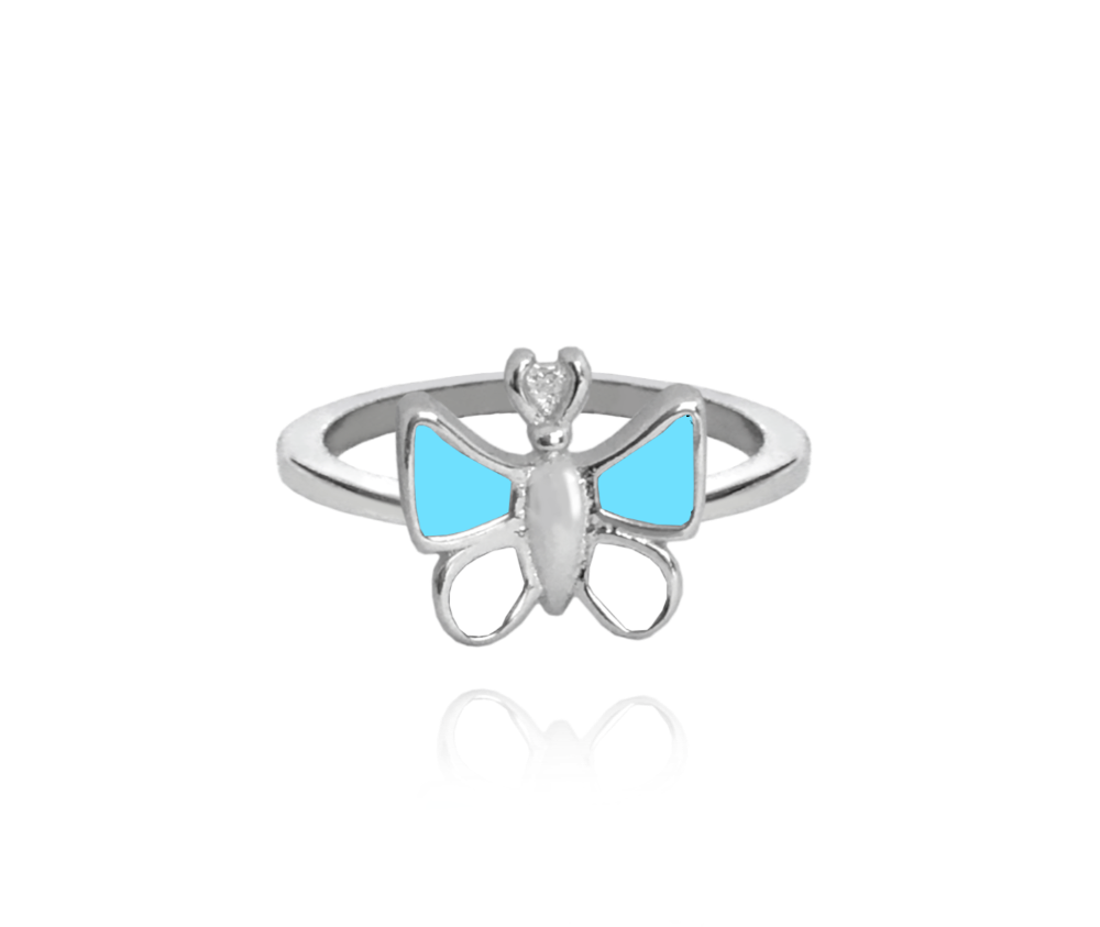 Stříbrný prsten MINET MODRÝ MOTÝLEK vel. 42