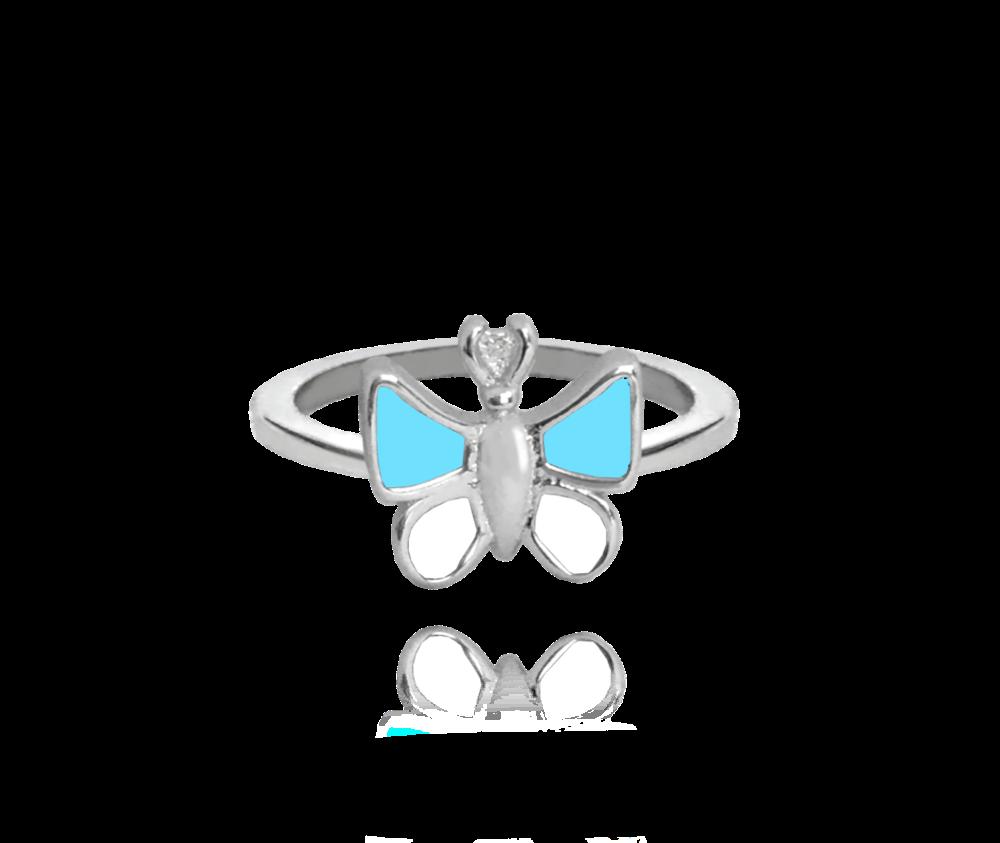 Stříbrný prsten MINET MODRÝ MOTÝLEK vel. 44