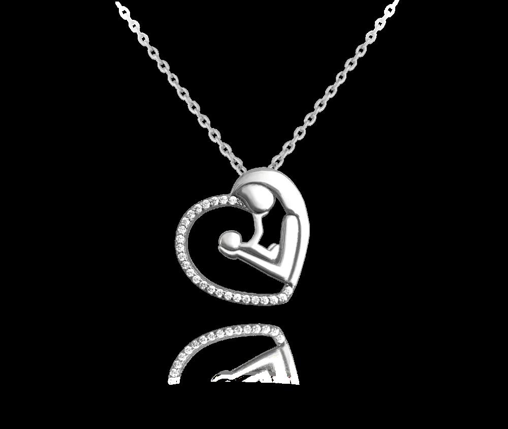 Stříbrný náhrdelník MINET MADONA s bílými zirkony
