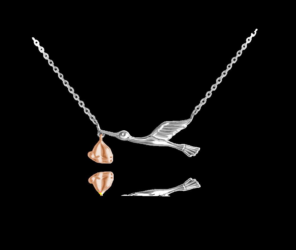 Stříbrno-růžový náhrdelník MINET ČÁP s balíčkem