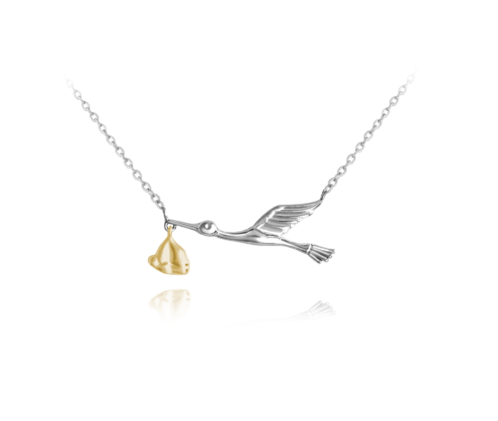 Stříbrno-zlatý náhrdelník MINET ČÁP s balíčkem