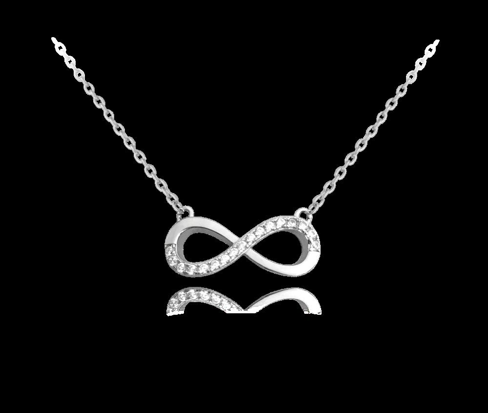 Stříbrný náhrdelník MINET NEKONEČNO s bílými zirkony