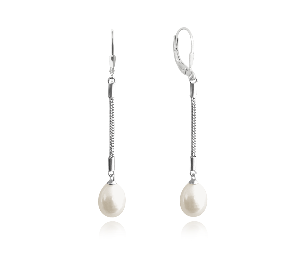 Stříbrné visací náušnice MINET s přírodními bílými perlami