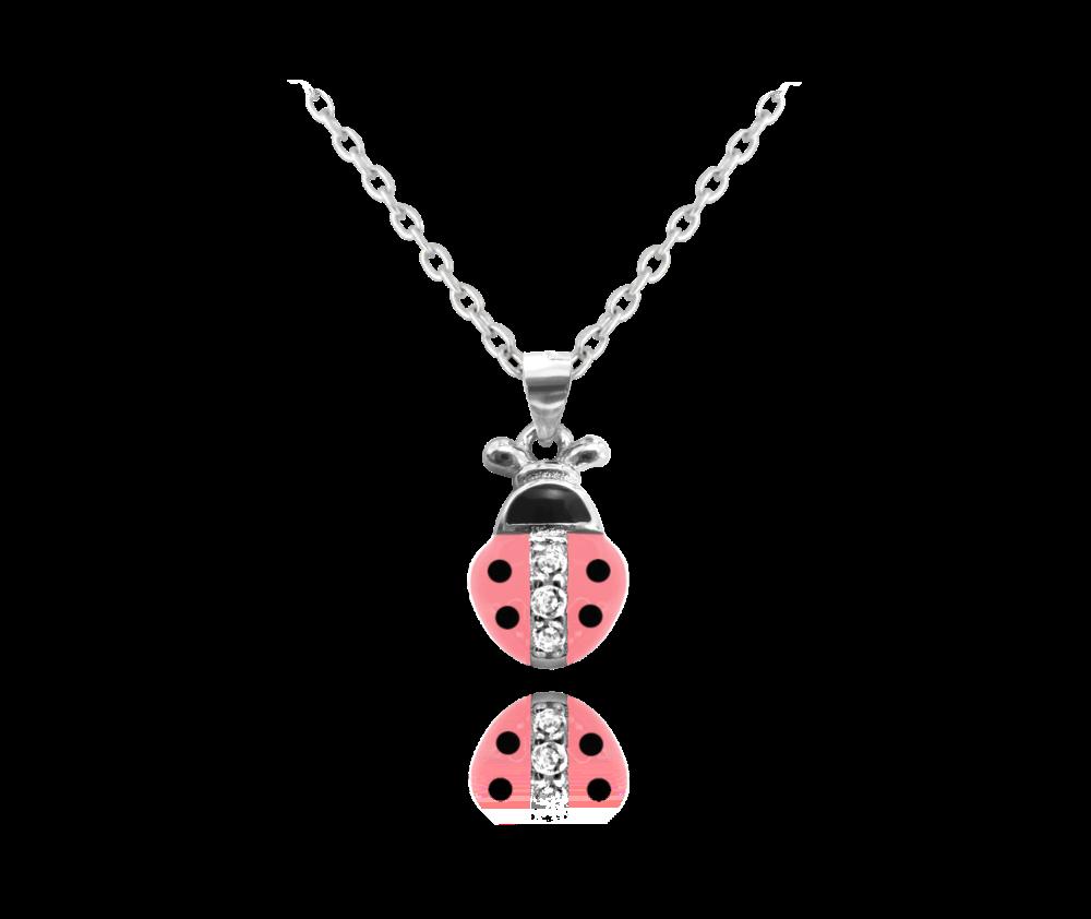 Stříbrný náhrdelník MINET RŮŽOVÁ BERUŠKA vykládaná zirkony