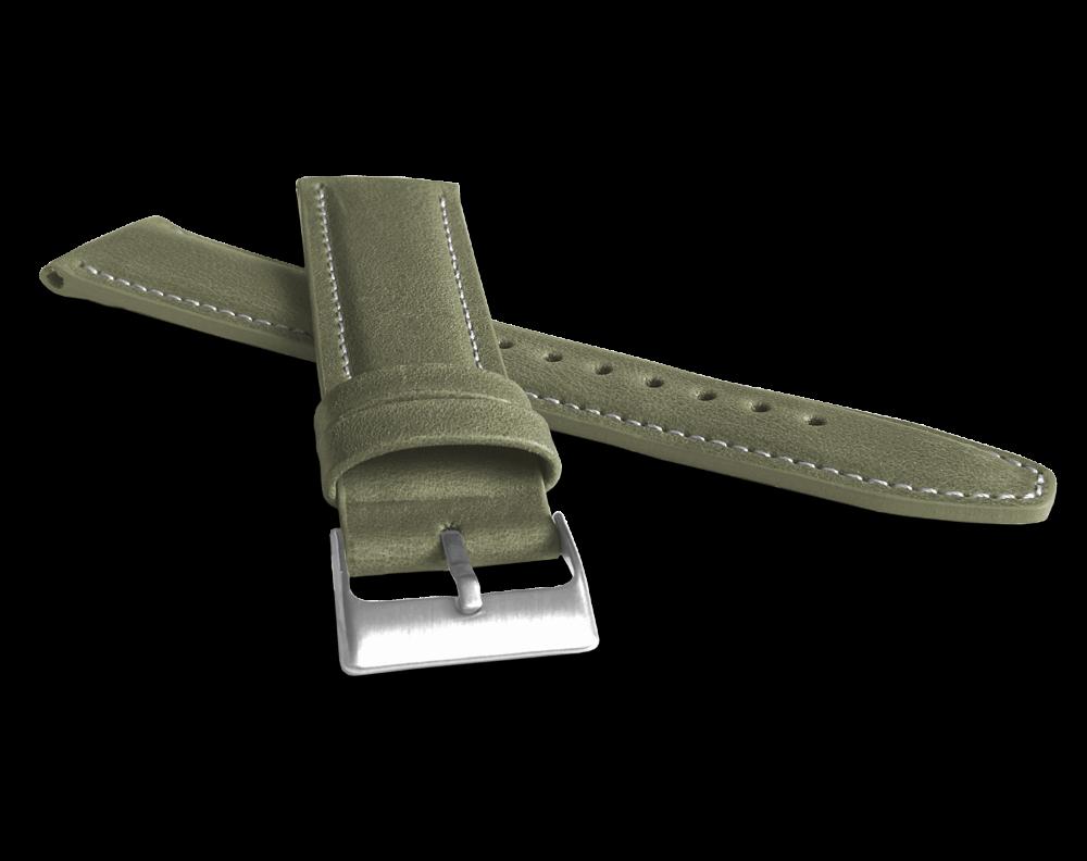 Polstrovaný olivově zelený prošitý řemínek LAVVU CLASSIC z luxusní kůže Top Grain - 22