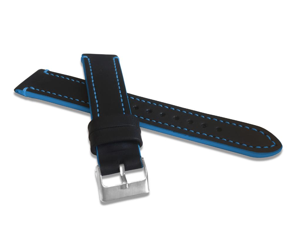 Modře prošitý řemínek LAVVU TAILOR z luxusní kůže Top Grain - 18