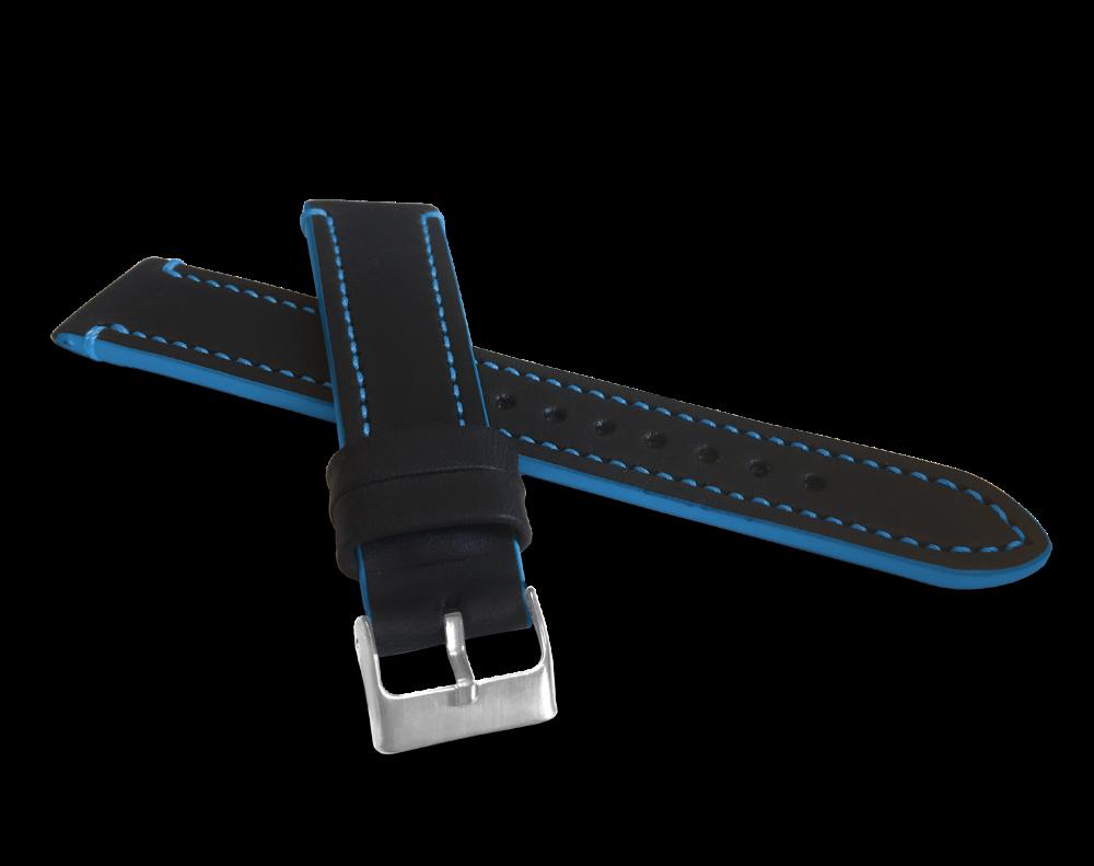 Modře prošitý řemínek LAVVU TAILOR z luxusní kůže Top Grain - 20