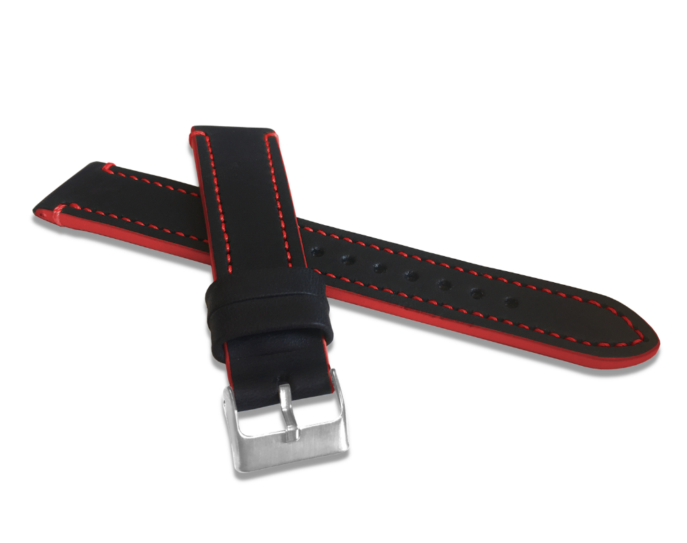 Červeně prošitý řemínek LAVVU TAILOR z luxusní kůže Top Grain - 18