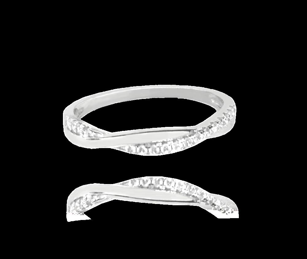 Stříbrný zapletený prsten MINET s bílými zirkony vel. 60