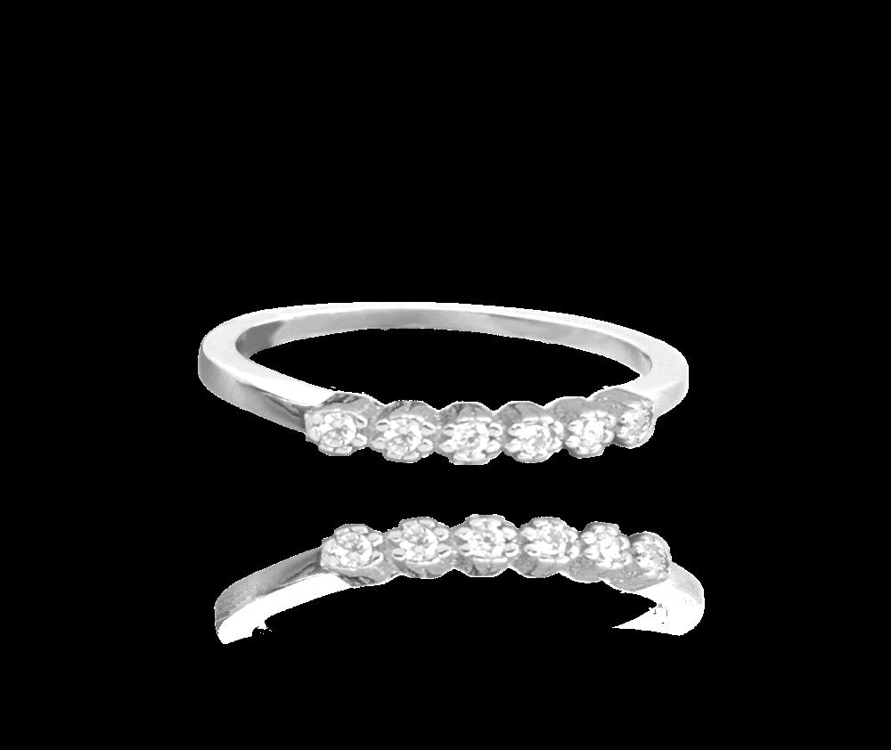 Třpytivý stříbrný prsten MINET s bílými zirkony vel. 54