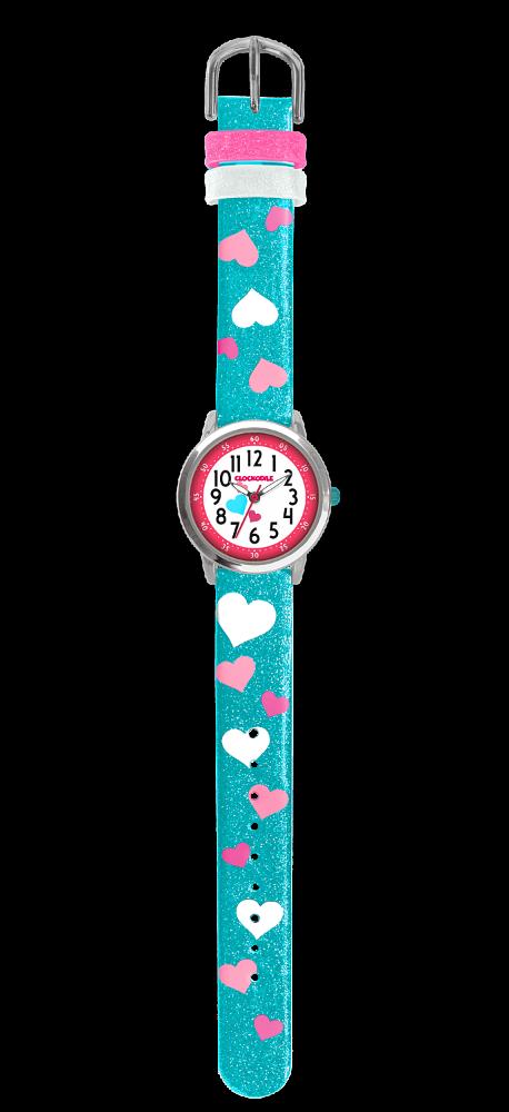 Tyrkysové třpytivé dívčí hodinky se srdíčky CLOCKODILE HEARTS