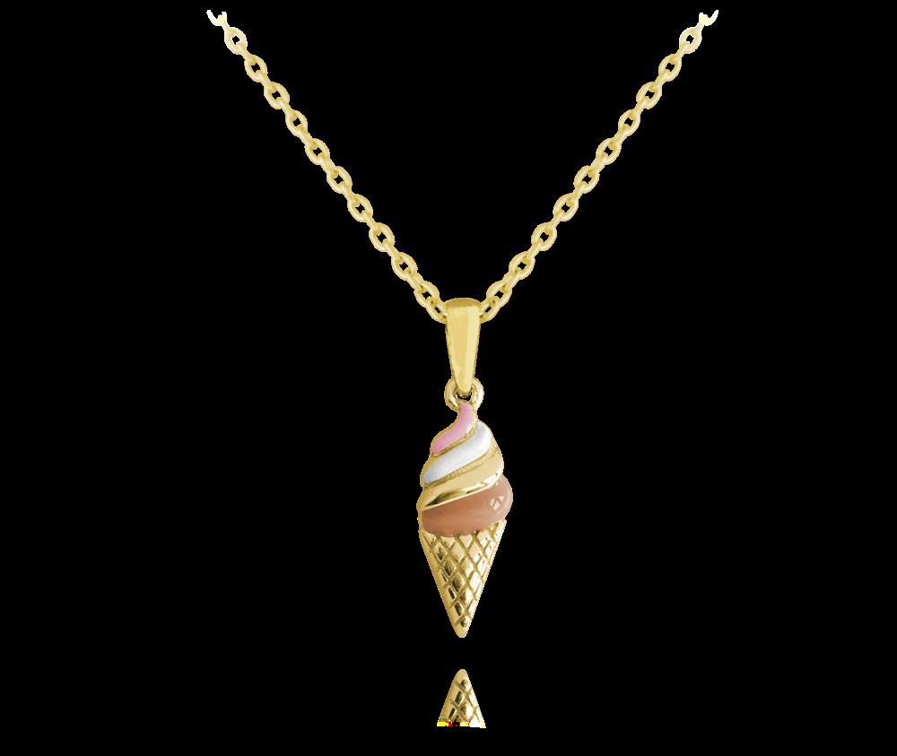 MINET Letní pozlacený stříbrný náhrdelník MINET ZMRZLINA JMAS8020GN45