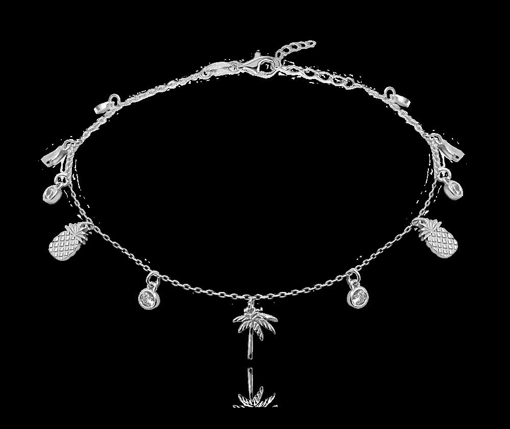 MINET Letní stříbrný řetízek na kotník MINET - ananasy a palmy JMAS8019SB24