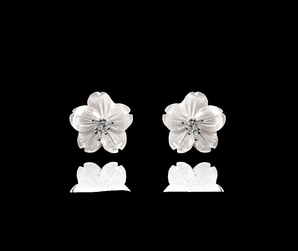 Bílé stříbrné náušnice MINET KYTIČKY