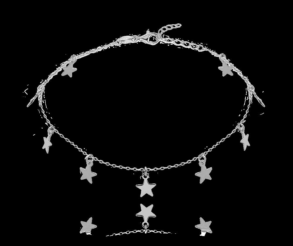 MINET Stříbrný řetízek na kotník MINET s hvězdičkami JMAN0184SB24