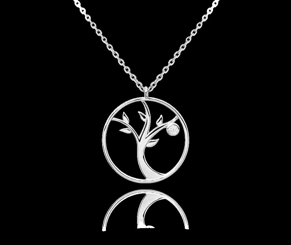 Stříbrný náhrdelník MINET STROM ŽIVOTA s bílým zirkonem