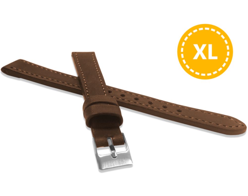 XXL Prodloužený prošitý hnědý řemínek LAVVU SPORT z luxusní kůže Top Grain - 14 XXL