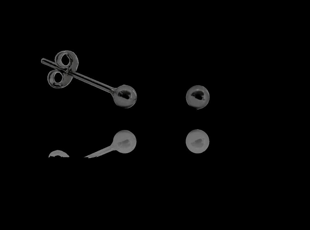 Černé stříbrné náušnice MINET KULIČKY MALÉ 3 mm