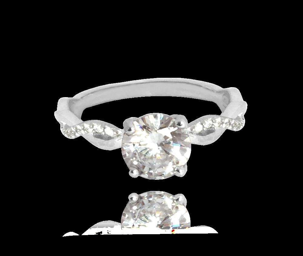 Romantický stříbrný prsten MINET s bílými zirkony vel. 54