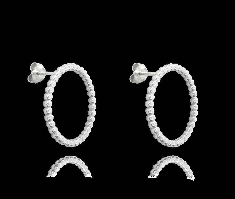Kuličkové stříbrné náušnice MINET KROUŽKY