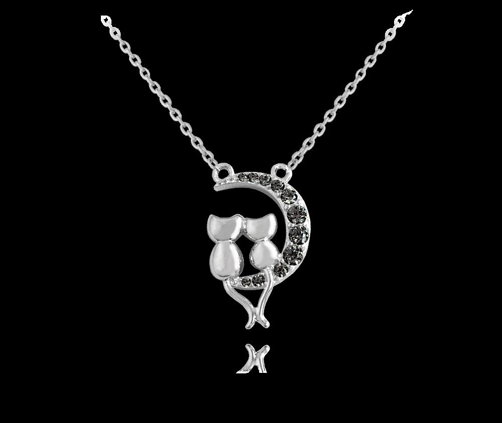 Stříbrný náhrdelník MINET KOČKY na černém měsíci