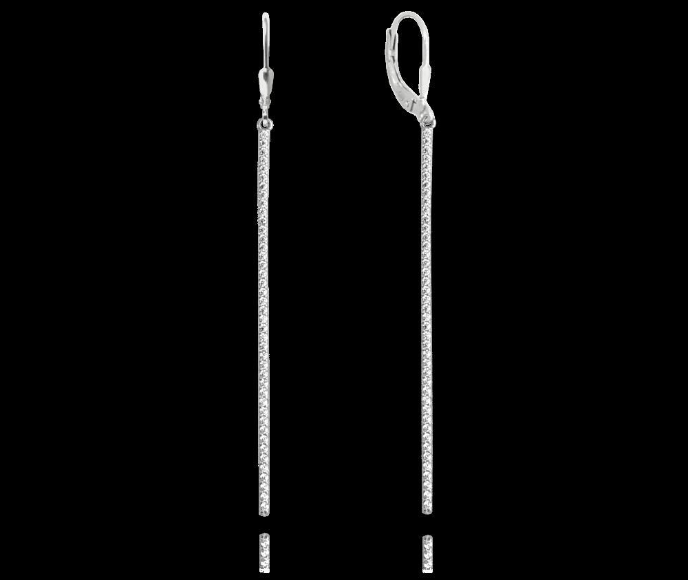MINET Závěsné štříbrné náušnice MINET s bílými zirkony JMAS0066SE01