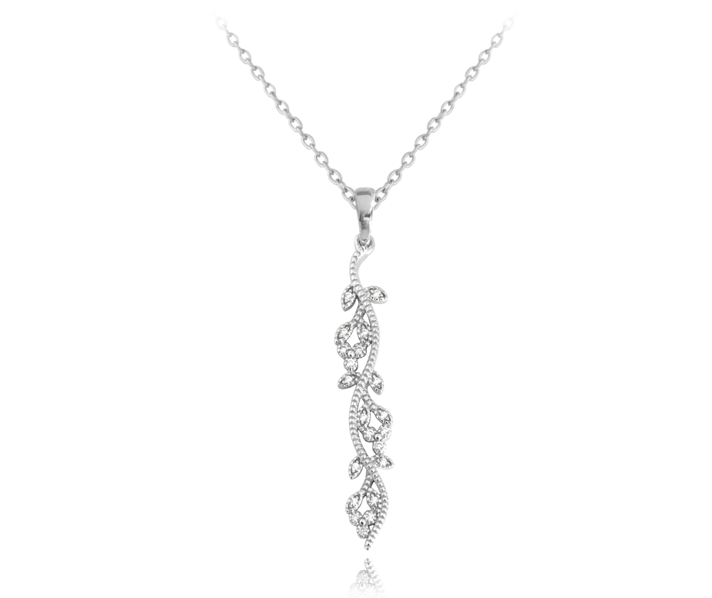 Rozkvetlý stříbrný náhrdelník MINET FLOWERS se zirkony
