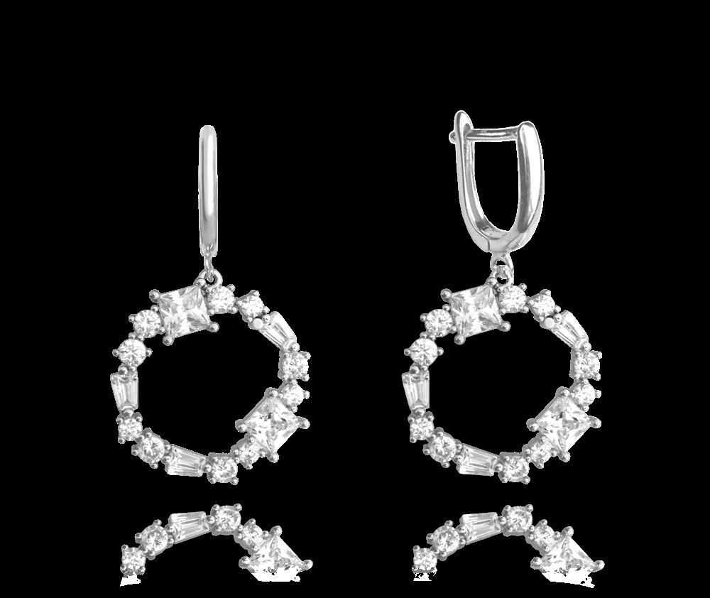 Luxusní kruhové stříbrné náušnice MINET s bílými zirkony