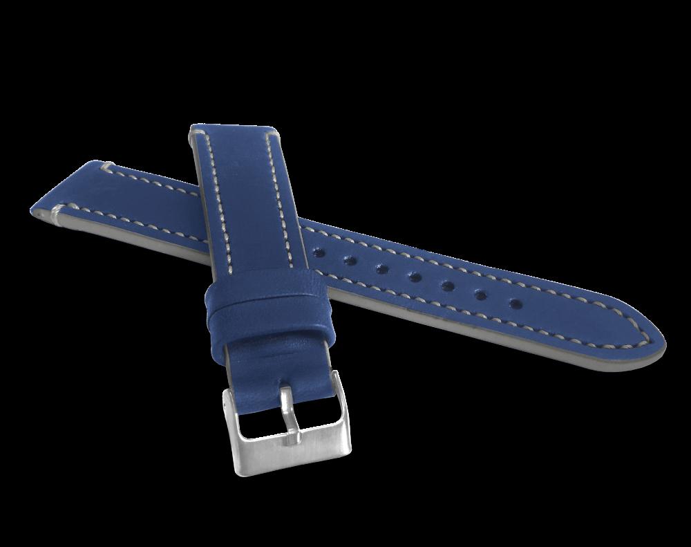 Modrý šedě prošitý řemínek LAVVU TAILOR z luxusní kůže Top Grain - 20