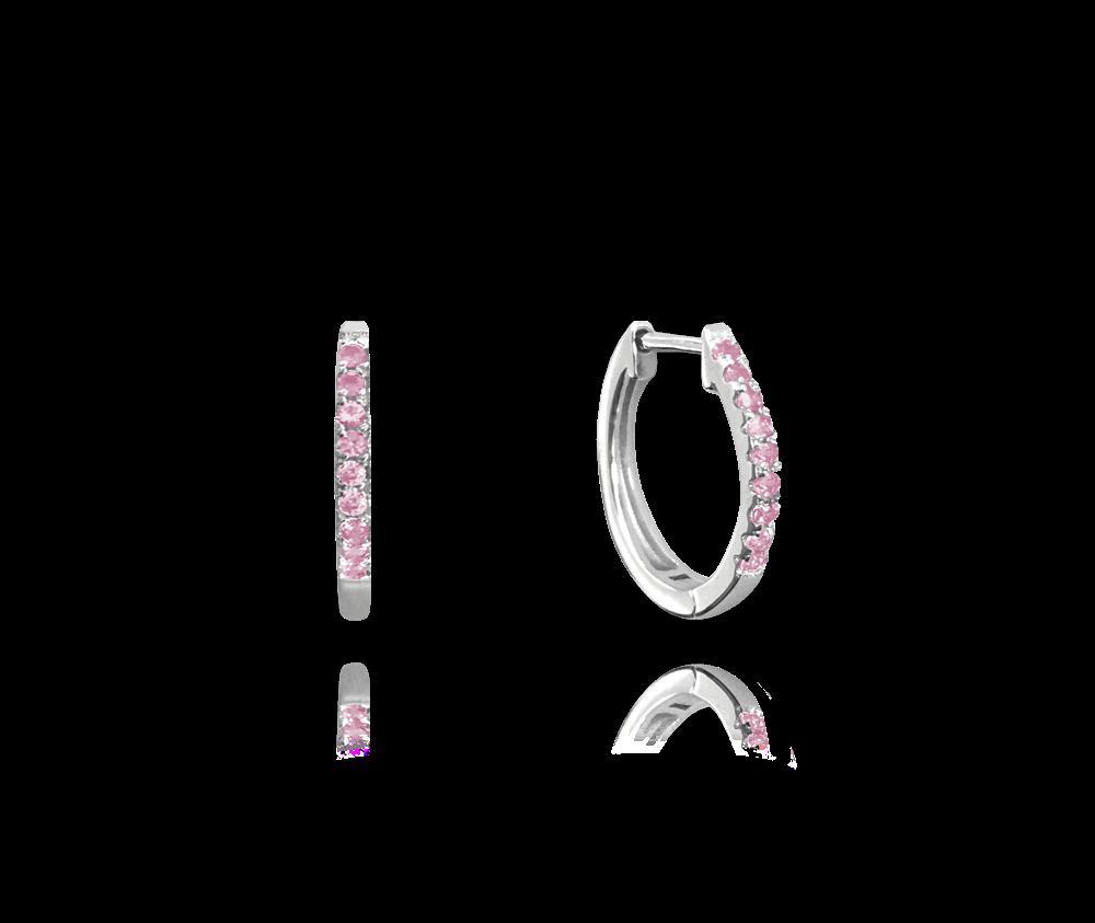 Třpytivé stříbrné náušnice MINET KROUŽKY s růžovými zirkony