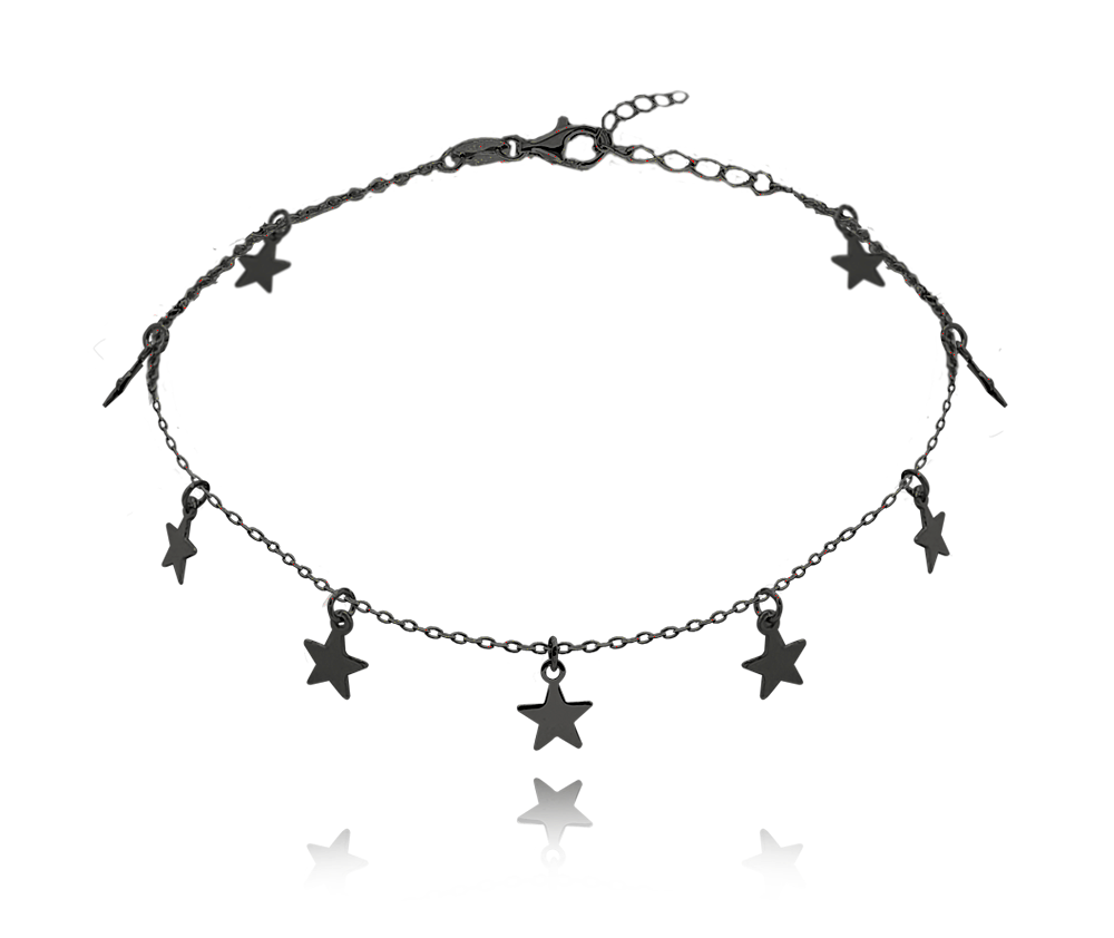 MINET Černý stříbrný řetízek na kotník MINET s hvězdičkami JMAN0184BB24
