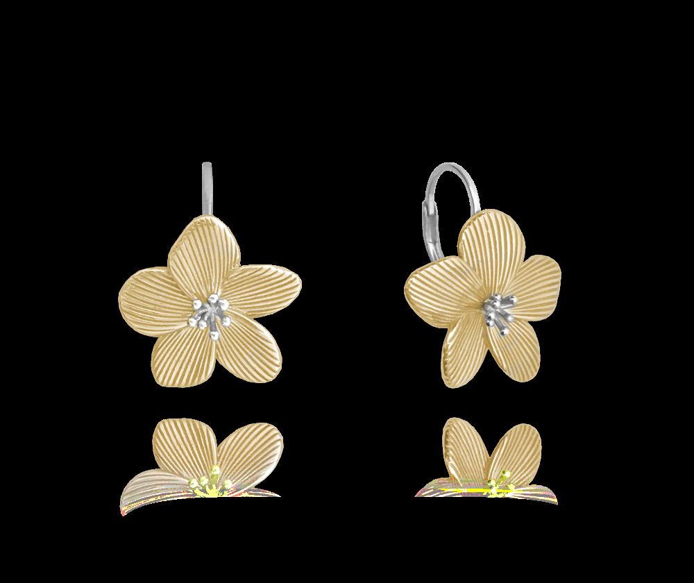 Rozkvetlé pozlacené stříbrné náušnice MINET FLOWERS