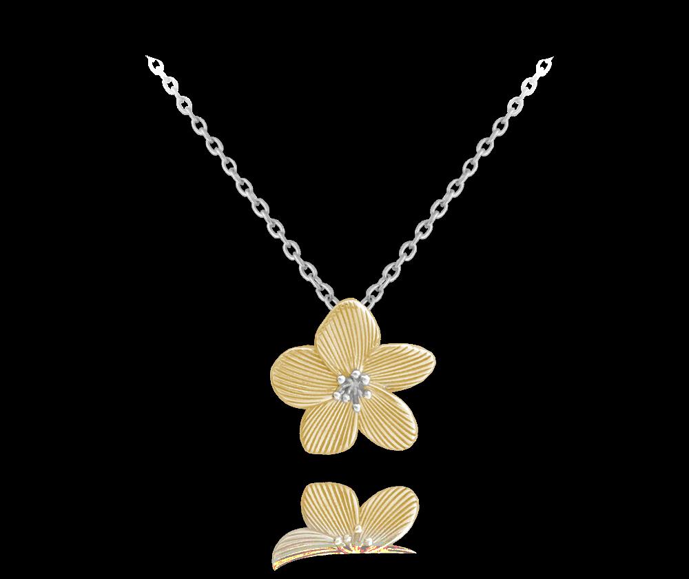 Rozkvetlý pozlacený stříbrný náhrdelník MINET FLOWERS